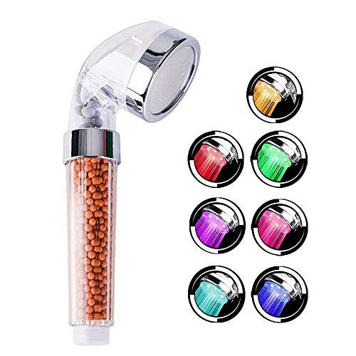 LED Duschkopf VEYETTE Hochdruck Spa Duschkopf Filtration Spray Sprinkler Handbrause Duschkopf 200% Hochdruck 30% Wasser sparen Trockene Haut und Haare vermeiden 7 Farbwechsel