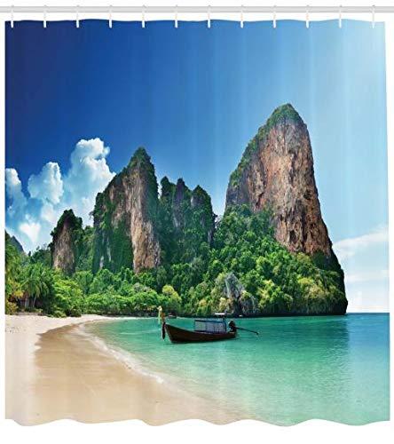 Abakuhaus Tropisch Duschvorhang, Thailand Fels Cliff Beach, Wasser Blickdicht inkl.12 Ringe Langhaltig Bakterie und Schimmel Resistent, 175 x 220 cm, Blau Grün