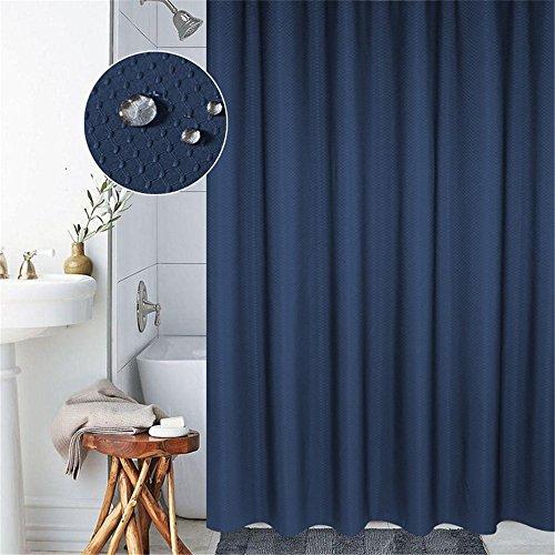 Lovedrop Duschvorhang Anti-Schimmel & Wasserdicht 100% Polyester Badezimmer Duschvorhang mit verstärktem Saum, mit Haken 120/150/180/200 x 200cm, Grau/Blau (120x200cm, Blau)