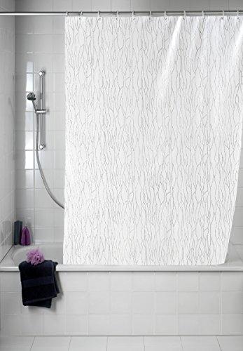 WENKO 21638100 Duschvorhang Deluxe Weiß - mit glänzenden Applikationen, waschbar, 100 % Polyester, Weiß