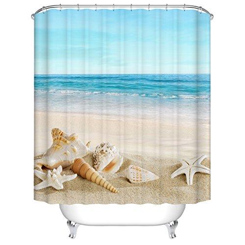 Meer & Sandstrand & Tritonshorn Duschvorhang, Qile Top Qualität Anti-Schimmel & Anti-Bakteriell 3D Duschvorhänge für Bad Badezimmer 180 x 180 cm + 12 Haken