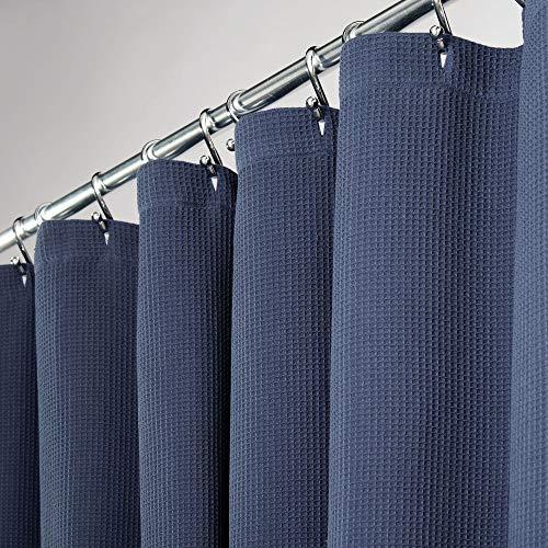 mDesign Duschvorhang aus 100% Baumwolle – schöne, strukturierte Duschgardine – pflegeleichter Badewannenvorhang – marineblau