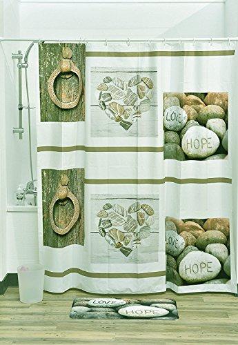 evideco Atelier Loft PEVA Bad bedruckt Vorhang für die Dusche, Mehrfarbig, 180 x 30 x 180 cm