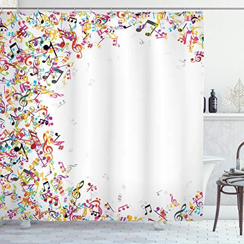 ABAKUHAUS Duschvorhang, Bunte Farbnoten Musik Music Notes Dekoratives Lebhaftes Design Ganz Töne Violinschlüssel Druck, Wasser und Blickdicht aus Stoff mit 12 Ringen Bakterie Resistent, 175 X 200 cm
