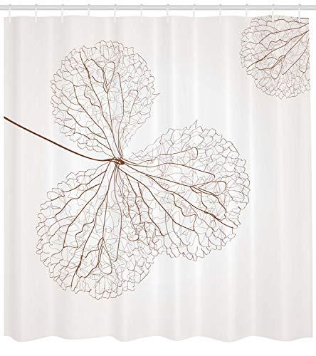 Abakuhaus Duschvorhang, Abstraktes Baumwolle Fasern in Braun Tonen Moderne Kunst Natur Gewebe Design Digital Druck, Blickdicht aus Stoff mit 12 Ringen Waschbar Langhaltig Hochwertig, 175 X 200 cm