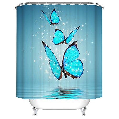 Qile 180 x 180cm Duschvorhang, Anti-Schimmel 100% Polyester Badewanne Duschvorhänge, 3D Effekt und Digitaldruck, Wasserdicht mit 12 weißen Haken (Schmetterling)