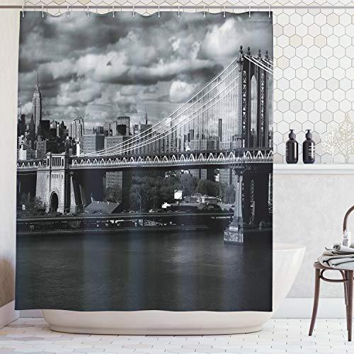 Abakuhaus Duschvorhang, Schwarz Weiß Panorama von New York Cityskyline mit Fokus auf Manhattan Brücken Foto, Blickdicht aus Stoff inkl. 12 Ringe für Das Badezimmer Waschbar, 175 X 200 cm