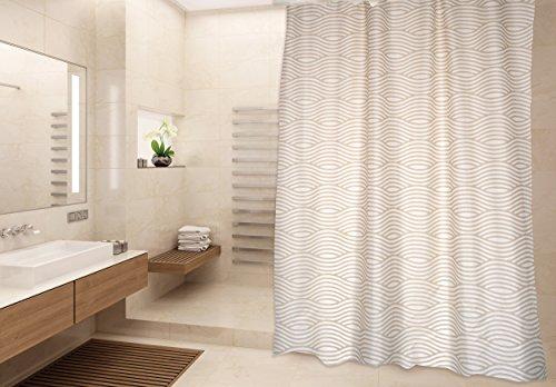 """MSV Cotexsa by Premium Anti-Schimmel Textil Duschvorhang - Anti-Bakteriell, waschbar, 100% wasserdicht, mit 12 Duschvorhangringen - Polyester, """"Wave"""" Beige 180x200cm – Made in Spain"""