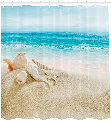 Abakuhaus Duschvorhang, Seestern und Schalen im Vordergrund im Hintergrund Ist Ein Meeresblick Ein Strand Bild Druck, Blickdicht aus Stoff mit 12 Ringen Waschbar Langhaltig Hochwertig, 175 X 200 cm