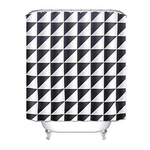 Htovila Duschvorhang Wasserdicht Anti-Schimmel mit 12 Duschvorhangringe aus Polyester 180x180 CM Weiße Blätter Muster