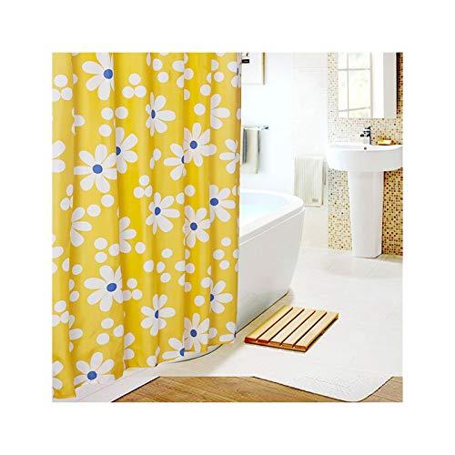 SonMo Duschvorhang Weiß Sonnenblume Polyester Gelb Anti-Bakteriell Anti-Schimmel Wasserdichtbadezimmer Vorhänge mit Duschvorhangringen 120×200CM