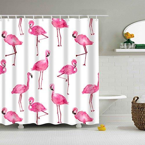 GWELL Flamingo Muster Duschvorhang Wasserdicht Anti-Schimmel inkl. 12 Kunststoff Duschvorhangringe für Badezimmer Muster-A 180x200cm