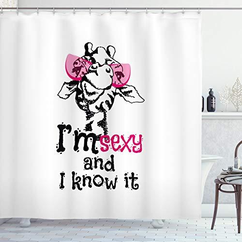 ABAKUHAUS Duschvorhang, Lustiges Giraffe in Rosa Brille mit Zitat I M Sexy and I Know It Mode Feminines Design Druck, Blickdicht aus Stoff inkl. 12 Ringen Umweltfreundlich Waschbar, 175 X 200 cm