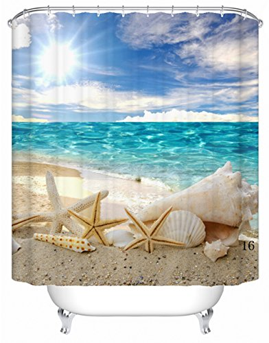 DAFENP Duschvorhang Anti-Schimmel Wasserdichter Anti-Bakteriell und Umweltfreundlich inkl. 8 Duschvorhangringe für Badezimmer,180x180 cm,YL01-style16