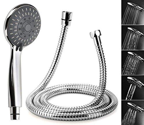 Duschkopf mit Schlauch, Lypumso Handbrause mit Edelstahl - Schlauch, 5 Strahlarten Universal Hand Dusche Bad Dusch Kopf, Chrom