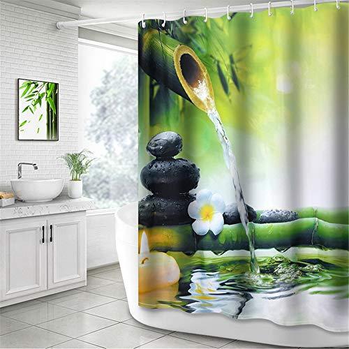 NIBESSER Duschvorhang Anti-Schimmel wasserdichter Textil Duschvorhang Bambus und Stein Digitaldruck mit 12 Duschvorhangringe für Badezimmer (180cmx200cm)