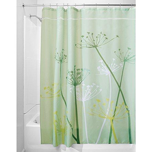 iDesign Thistle Duschvorhang   180,0 cm x 200,0 cm großer Badewannenvorhang   waschbarer Duschvorhang aus weichem Stoff   mit Blumen-Motiv   Polyester grün