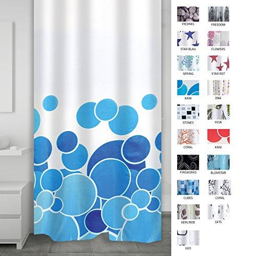 Ridder 403073 Duschvorhang Textil ca. 180 x 200 cm, Kani blau
