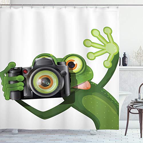 ABAKUHAUS Duschvorhang, Fotografier Frosch Frog EIN Bild mit Seiner Kamera Cute Süß Artfull Kunst Digitales Druck, Blickdicht aus Stoff inkl. 12 Ringe für Das Badezimmer Waschbar, 175 X 200 cm