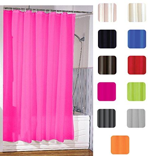 """MSV Anti-Schimmel Duschvorhang - Anti-Bakteriell, waschbar, wasserdicht, mit 12 Duschvorhangringen - Polyester, """"Pink"""" 180x200cm"""