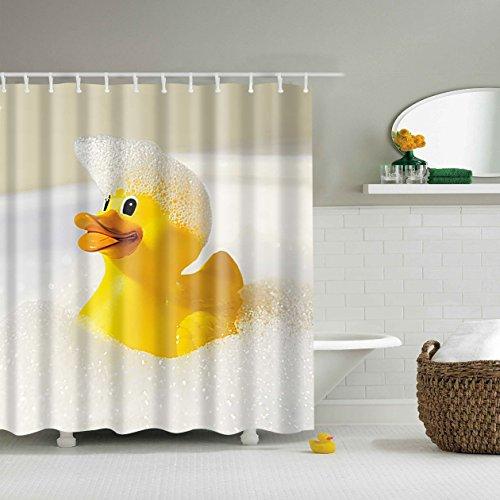 5Größe Polyester Digitaldruck Tier Serie Duschvorhang Badvorhang Anti-Schimmel Wasserdicht ohne Haken für Heim und Hotel Decor (120*180cm, #7 Gelbe Ente)
