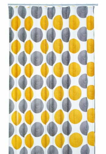 Duschvorhang Lamara gelb, graue Kreise 180cm breit x 200cm lang mit Ringe aus PEVA