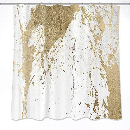 LB Duschvorhang-Dekor aus Marmor, Marmor Textur, Polyester-Gewebe Wasserdicht Badezimmer Dekor Duschvorhang Set mit 12 Haken, 150x180cm YL5315-150