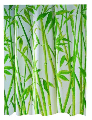 Spirella Duschvorhang, Polyester, 180x180cm, weiß/grünes Bambusmuster