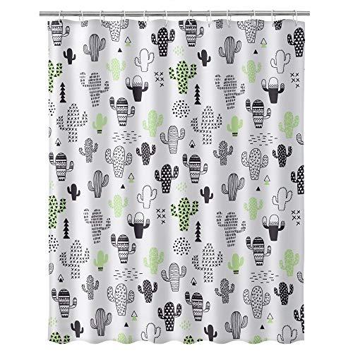<Dcasa – moderner Duschvorhang, Polyester, Kaktus, 180 x 200 cm