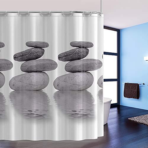 htovila Duschvorhang Anti-Schimmel Wasserdicht mit 12 Duschvorhangringe aus Waschbar Polyester 180x180 Grau Pebble