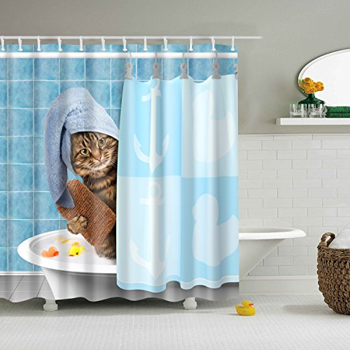 GWELL Tier Wasserdichter Duschvorhang Anti-Schimmel inkl. 12 Duschvorhangringe für Badezimmer 180x200cm Katze-2