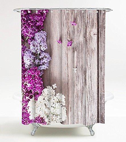Duschvorhang Flieder 180 x 180 cm, hochwertige Qualität, 100% Polyester, wasserdicht, Anti-Schimmel-Effekt, inkl. 12 Duschvorhangringe