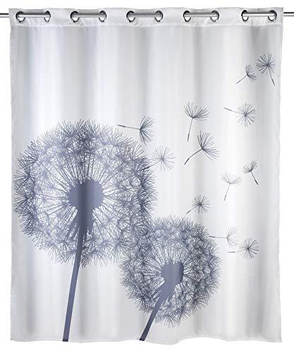 WENKO Anti-Schimmel Duschvorhang Astera Flex, Anti-Bakteriell, wasserabweisend, waschbar, schimmelresistent mit integrierter Hängeeinrichtung, 180 x 200 cm, weiß