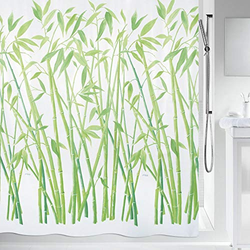 """Spirella Anti-Schimmel Duschvorhang - Anti-Bakteriell, waschbar, wasserdicht, Polyester, """"Bambus"""" 180x180cm Grün Weiß"""