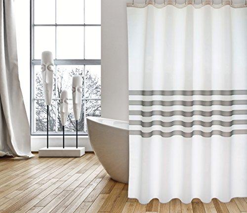 """MSV Cotexsa by Premium Anti-Schimmel Textil Duschvorhang - Anti-Bakteriell, waschbar, 100% wasserdicht, mit 12 Duschvorhangringen - Polyester, """"Jessen"""" Weiß Grau 180x200cm – Made in Spain"""