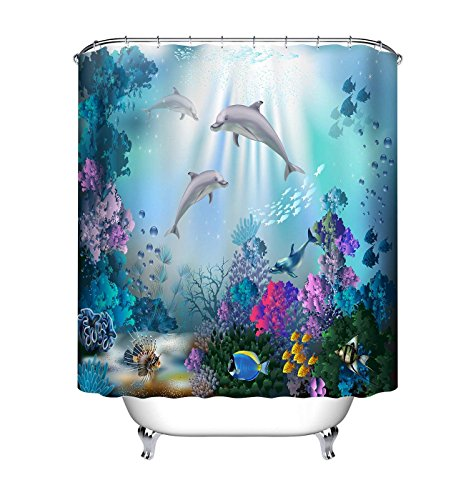 LB Delphin Duschvorhang Mit Vorhanghaken,Wasserdicht Anti-Schimmel 180 x 200 cm Polyester Stoff,Fisch Bunte Korallen Blaues Meer Unterwasser Weltmuster Bad Vorhänge