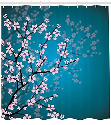 Abakuhaus Teal Duschvorhang, Frühling Sakura Blumen, Personenspezifisch Druck inkl.12 Haken Farbfest Dekorative mit Klaren Farben, 175 x 200 cm, Teal Pink