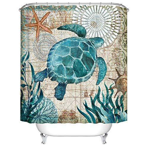 Schildkröten Badezimmer Duschvorhang, Anti-Schimmel 100% Polyester Badewanne Duschvorhänge, 3D Effekt und Digitaldruck, Wasserdicht mit 12 weißen Haken, 180 x 180cm