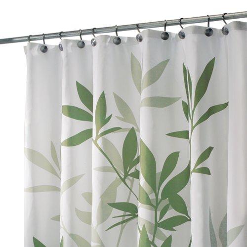 iDesign Leaves Duschvorhang | Designer Duschvorhang in der Größe 180,0 cm x 200,0 cm | schickes Duschvorhang Motiv mit Blättern | Polyester grün