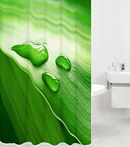 Duschvorhang Green Leaf 180 x 180 cm, hochwertige Qualität, 100% Polyester, wasserdicht, Anti-Schimmel-Effekt, inkl. 12 Duschvorhangringe