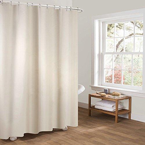 Htovila Duschvorhang 180x180 Anti-Schimmel Wasserdicht mit 12 Duschvorhangringe aus Waschbar Polyester Beige