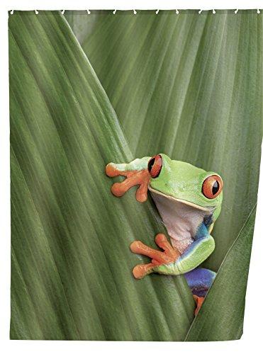 WENKO 20958100 Duschvorhang Frog - waschbar, mit 12 Duschvorhangringen, 100 % Polyester, Mehrfarbig