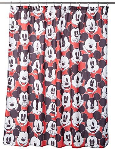 Jay Franco Disney Duschvorhang mit Mickey Maus und Minnie Maus, 177,8x 182,9cm, aus Stoff Duschvorhang Black/White Shower Curtain
