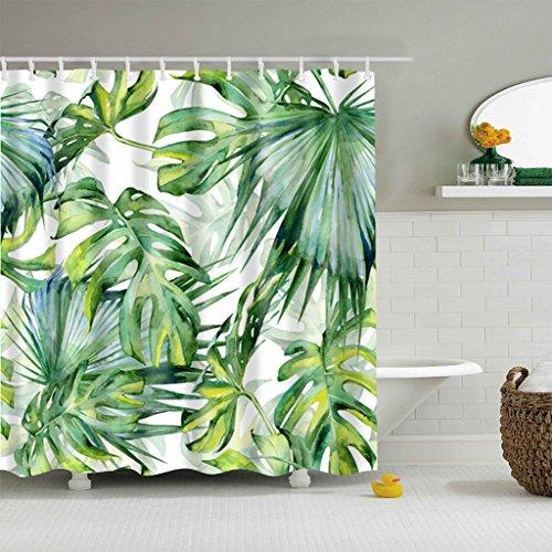 5Größe Polyester Digitaldruck Duschvorhang Badvorhang Blätter Serie Anti-Schimmel Wasserdicht ohne Haken für Heim und Hotel Decor (#3 Blätter, 180*200cm)