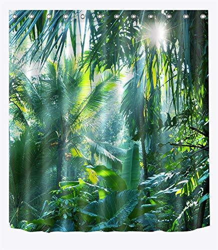 LB Tropischer Pflanzen Dekor Duschvorhang Sonnenschein,Grünes Blatt, Wald 150W x180H cm,Wasserdicht,Polyester Stoff,Kommen mit Bad Vorhang und Haken