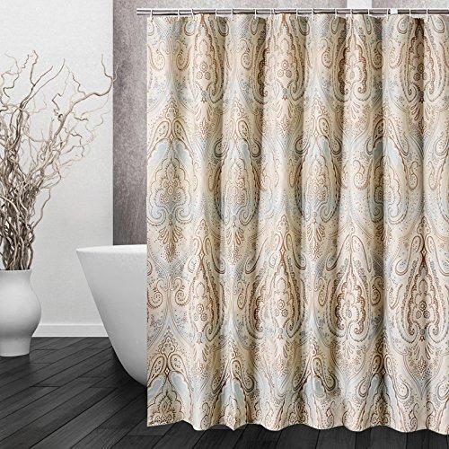 DECMAY Anti-schimmel Duschvorhang 180x180cm Wasserdicht Anti-Bakteriell Duschvorhang Vintage Badvorhang mit 12 Duschvorhangringe für Badezimmer Römisches Muster
