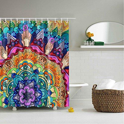 GWELL Anti-Schimmel Duschvorhang Blumen Digitaldruck inkl. 12 Duschvorhangringe für Badezimmer Art-D 180x200cm