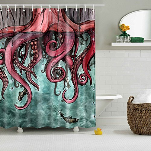 Colorfulworld Digital Printed Antibacterial Mildew Proof 100% Polyester Fabric water resistant Shower Curtain Anti-Mould Washable,150*180cm (Comic octopus)