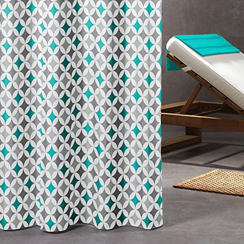 Sealskin Textil Duschvorhang Diamonds, Farbe: Blau, B x H: 180 x 200 cm