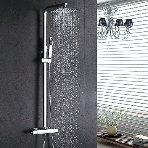 Homelody Thermostat Duschsystem Regendusche Eckig Duschpaneel Duscharmatur Duschset inkl. Überkopfbrause Handbrause Regenbrause